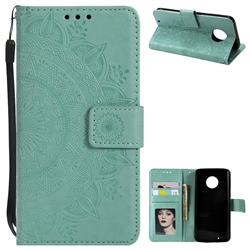 Intricate Embossing Datura Leather Wallet Case for Motorola Moto G6 - Mint Green