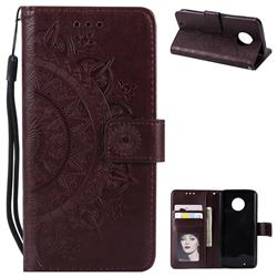 Intricate Embossing Datura Leather Wallet Case for Motorola Moto G6 - Brown