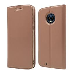 Ultra Slim Card Magnetic Automatic Suction Leather Wallet Case for Motorola Moto G6 - Rose Gold