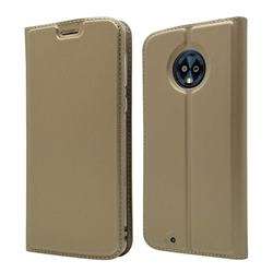 Ultra Slim Card Magnetic Automatic Suction Leather Wallet Case for Motorola Moto G6 - Champagne
