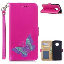 Imprint Embossing Butterfly Leather Wallet Case for Motorola Moto G6 - Rose Red