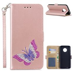 Imprint Embossing Butterfly Leather Wallet Case for Motorola Moto G6 - Rose Gold