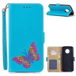 Imprint Embossing Butterfly Leather Wallet Case for Motorola Moto G6 - Sky Blue