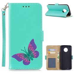 Imprint Embossing Butterfly Leather Wallet Case for Motorola Moto G6 - Mint Green