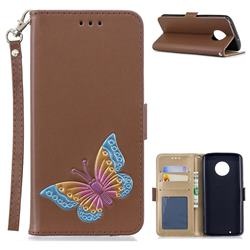 Imprint Embossing Butterfly Leather Wallet Case for Motorola Moto G6 - Brown