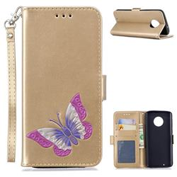 Imprint Embossing Butterfly Leather Wallet Case for Motorola Moto G6 - Golden