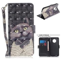 Cat Embrace 3D Painted Leather Wallet Phone Case for Motorola Moto G6