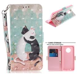 Black and White Cat 3D Painted Leather Wallet Phone Case for Motorola Moto G6