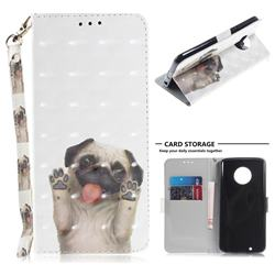 Pug Dog 3D Painted Leather Wallet Phone Case for Motorola Moto G6