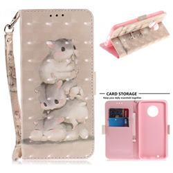 Three Squirrels 3D Painted Leather Wallet Phone Case for Motorola Moto G6