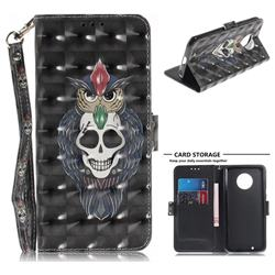 Skull Cat 3D Painted Leather Wallet Phone Case for Motorola Moto G6