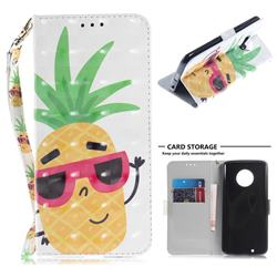 Pineapple Glasses 3D Painted Leather Wallet Phone Case for Motorola Moto G6