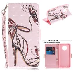 Butterfly High Heels 3D Painted Leather Wallet Phone Case for Motorola Moto G6