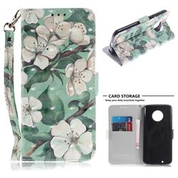 Watercolor Flower 3D Painted Leather Wallet Phone Case for Motorola Moto G6