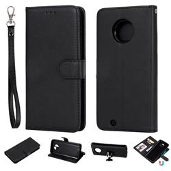 Retro Greek Detachable Magnetic PU Leather Wallet Phone Case for Motorola Moto G6 - Black