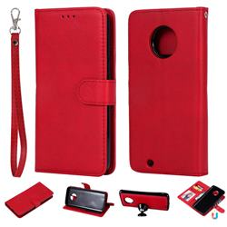 Retro Greek Detachable Magnetic PU Leather Wallet Phone Case for Motorola Moto G6 - Red