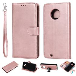 Retro Greek Detachable Magnetic PU Leather Wallet Phone Case for Motorola Moto G6 - Rose Gold
