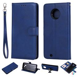 Retro Greek Detachable Magnetic PU Leather Wallet Phone Case for Motorola Moto G6 - Blue
