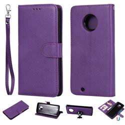 Retro Greek Detachable Magnetic PU Leather Wallet Phone Case for Motorola Moto G6 - Purple
