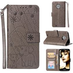 Embossing Fireworks Elephant Leather Wallet Case for Motorola Moto G6 - Gray