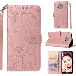 Embossing Fireworks Elephant Leather Wallet Case for Motorola Moto G6 - Rose Gold
