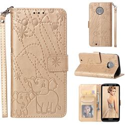 Embossing Fireworks Elephant Leather Wallet Case for Motorola Moto G6 - Golden
