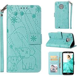 Embossing Fireworks Elephant Leather Wallet Case for Motorola Moto G6 - Green