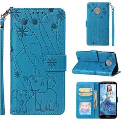 Embossing Fireworks Elephant Leather Wallet Case for Motorola Moto G6 - Blue