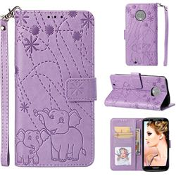 Embossing Fireworks Elephant Leather Wallet Case for Motorola Moto G6 - Purple