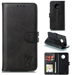 Embossing Happy Cat Leather Wallet Case for Motorola Moto G6 - Black