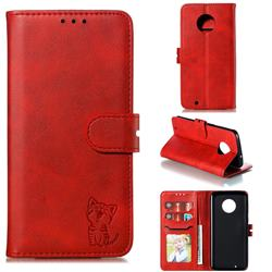 Embossing Happy Cat Leather Wallet Case for Motorola Moto G6 - Red