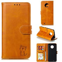 Embossing Happy Cat Leather Wallet Case for Motorola Moto G6 - Yellow