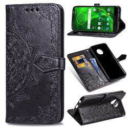 Embossing Imprint Mandala Flower Leather Wallet Case for Motorola Moto G6 - Black
