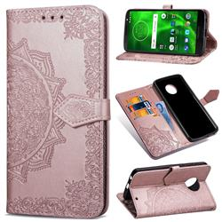Embossing Imprint Mandala Flower Leather Wallet Case for Motorola Moto G6 - Rose Gold