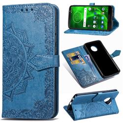 Embossing Imprint Mandala Flower Leather Wallet Case for Motorola Moto G6 - Blue