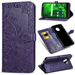 Embossing Imprint Mandala Flower Leather Wallet Case for Motorola Moto G6 - Purple