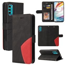 Luxury Two-color Stitching Leather Wallet Case Cover for Motorola Moto G60 - Black