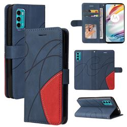 Luxury Two-color Stitching Leather Wallet Case Cover for Motorola Moto G60 - Blue
