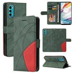 Luxury Two-color Stitching Leather Wallet Case Cover for Motorola Moto G60 - Green