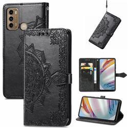 Embossing Imprint Mandala Flower Leather Wallet Case for Motorola Moto G60 - Black
