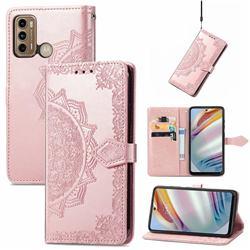 Embossing Imprint Mandala Flower Leather Wallet Case for Motorola Moto G60 - Rose Gold
