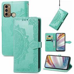 Embossing Imprint Mandala Flower Leather Wallet Case for Motorola Moto G60 - Green