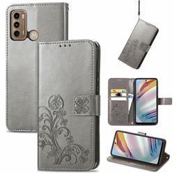 Embossing Imprint Four-Leaf Clover Leather Wallet Case for Motorola Moto G60 - Grey