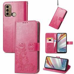Embossing Imprint Four-Leaf Clover Leather Wallet Case for Motorola Moto G60 - Rose Red