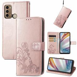Embossing Imprint Four-Leaf Clover Leather Wallet Case for Motorola Moto G60 - Rose Gold