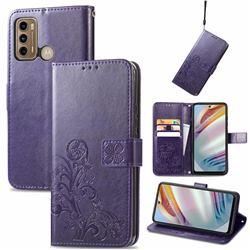 Embossing Imprint Four-Leaf Clover Leather Wallet Case for Motorola Moto G60 - Purple