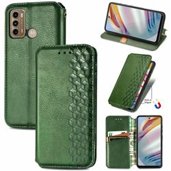 Ultra Slim Fashion Business Card Magnetic Automatic Suction Leather Flip Cover for Motorola Moto G60 - Green