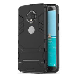 Armor Premium Tactical Grip Kickstand Shockproof Dual Layer Rugged Hard Cover for Motorola Moto G6 Plus G6Plus - Black