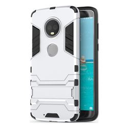 Armor Premium Tactical Grip Kickstand Shockproof Dual Layer Rugged Hard Cover for Motorola Moto G6 Plus G6Plus - Silver