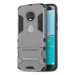Armor Premium Tactical Grip Kickstand Shockproof Dual Layer Rugged Hard Cover for Motorola Moto G6 Plus G6Plus - Gray